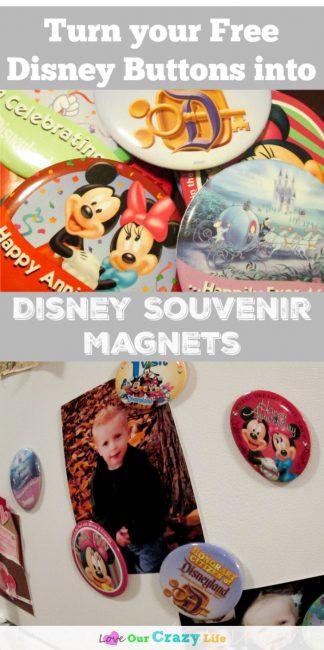 Disney Souvenir Buttons to magnets