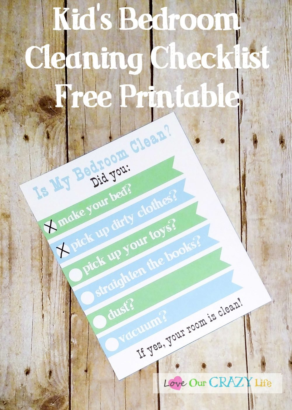 Free Kid's bedroom cleaning checklist