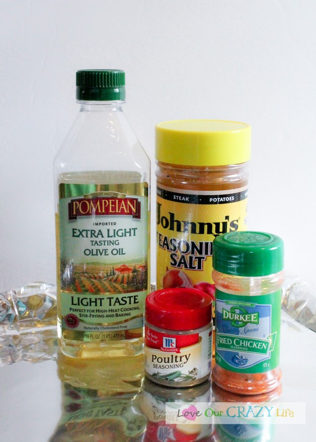 Simple ingredients for this lightly fried chicken dinner