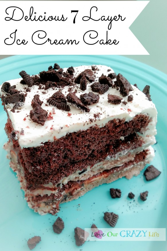 Ice Cream Cake Layer With Oreos On Top