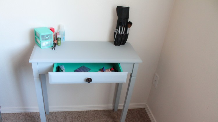 Turning an old console table into a vanity or laptop desk, using a spray paint that is CHALK paint! Awesome!