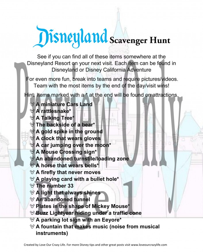 Free Disneyland Scavenger Hunt Printable