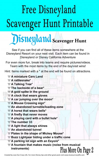 Disneyland Scavenger Hunt Printable