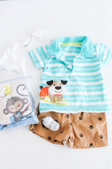 Packing for babies and toddlers. Group clothing together and put in quart size bag.