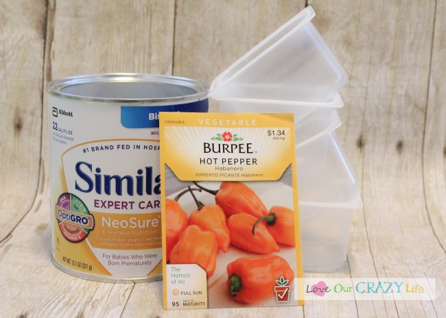 Empty baby food and formula containers to start seeds