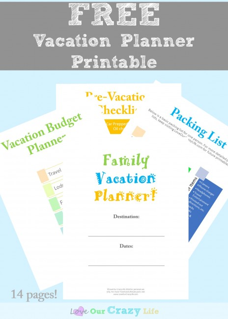 Free Vacation Planner Printable. 14 pages of free printables for planning vacations including budget sheets, packing lists, and more! Plus some great tips.