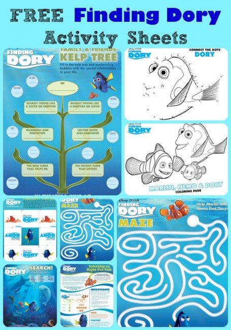 FREE Finding Dory Activity Sheets & Study Units
