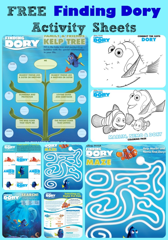 Free Finding Dory Activity Sheets Study Units This