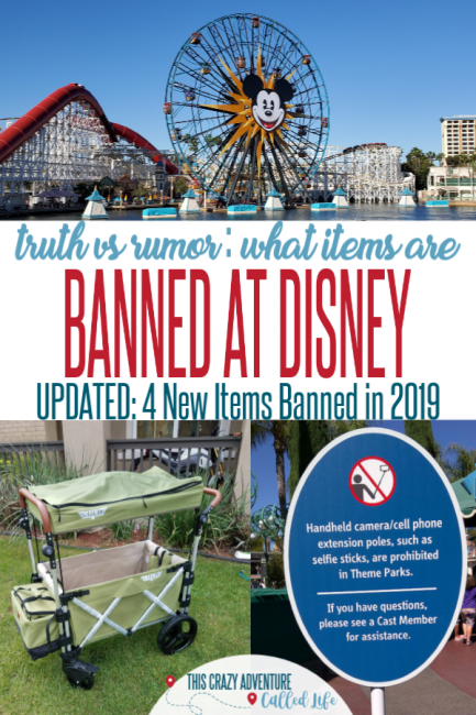 Planning a trip to Disneyland or Disney World. Traveling with Kids is hard to enough, you don't want to be turned away at security. Read this post to find out what is actually banned at Disney and what is just rumor. Good to know before packing for your Disneyland vacation. #DisneyVacation #FamilyTravel