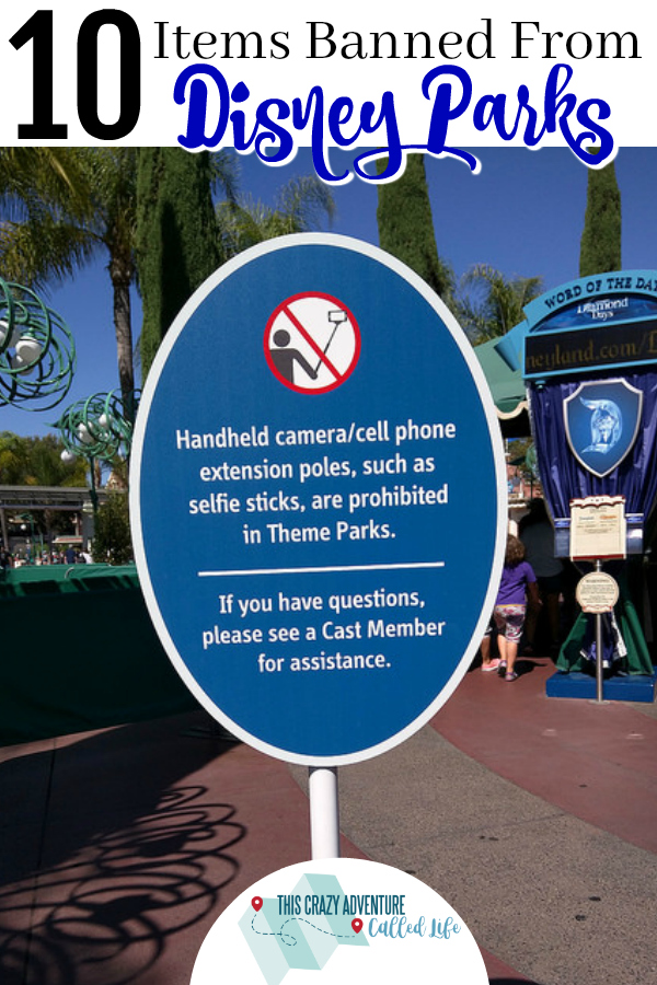If you are heading to a Disney park, make sure you don't try to take in these 10 items. Plus items you think are banned, but are totally allowed! For vacations at Disneyland and Walt Disney World. #Disneyland #WaltDisneyWorld #Disney #vacation #ThisCrazyAdventureCalledLife