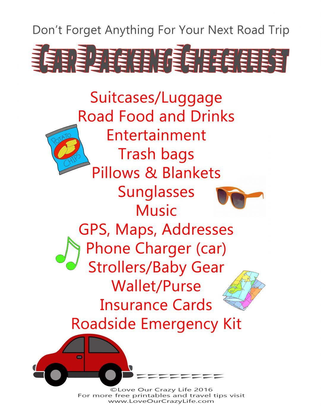 This is a photo of Canny Road Trip Packing List Printable