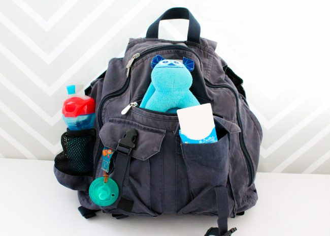 Use a backpack or diaper bag as a great carryon option when you are taking a trip or flying with a baby or toddler.