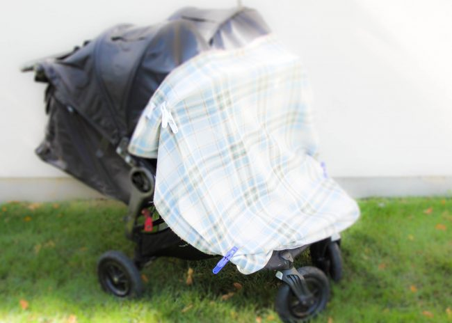Mini clamps can hold light weight blankets or ponchos onto strollers