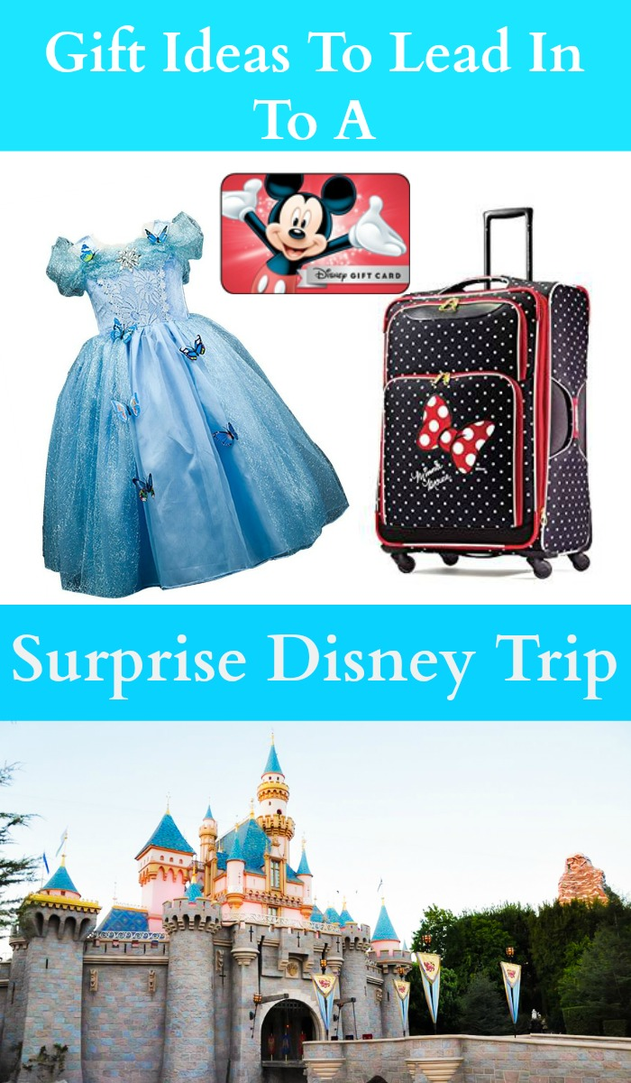 These gift ideas are the perfect lead in to a surprise Disney Trip!