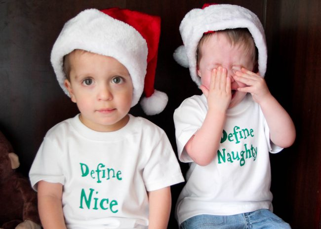 DIY Holiday Onesies and Shirts with twin themes