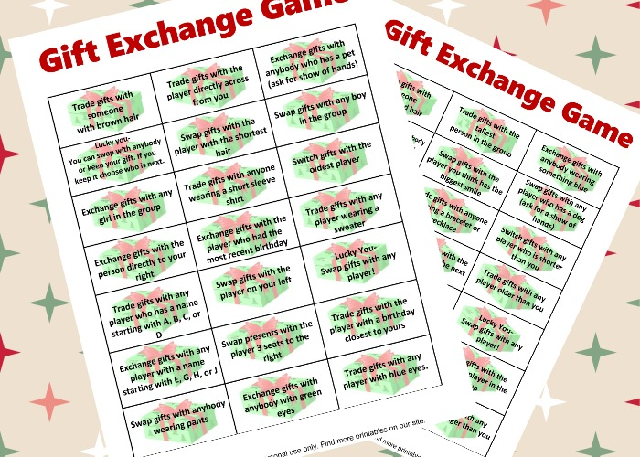Free Gift Exchange Game Printable | This Crazy Adventure ...