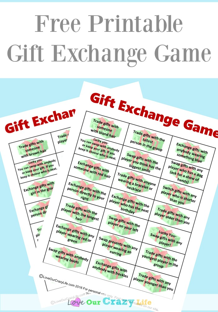 Free Gift Exchange Game Printable