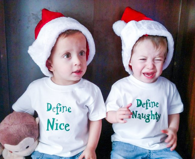 DIY Holiday Onesies and shirts with themes for twins