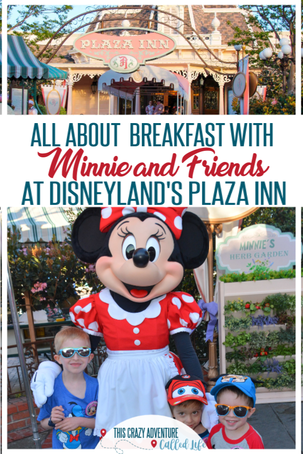 Review and tips for Disneyland's Plaza Inn Character Dining with Minnie and Friends. Is this a good choice when doing Disneyland with toddlers, preschoolers or kids? You bet! Insider tips to get best photos and how to get in to the park early for your meal. Add this meal to your next Disneyland vacation. #TravelwithKids #Disneyland #DisneylandwithKids #DisneyTips #ThisCrazyAdventureCalledLife