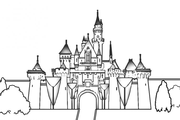 Outline of castle for Disneyland Hotel HEadboard