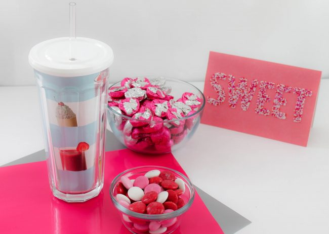 DIY Candy Milk Shake with personalized Tumbler for Valentines Day