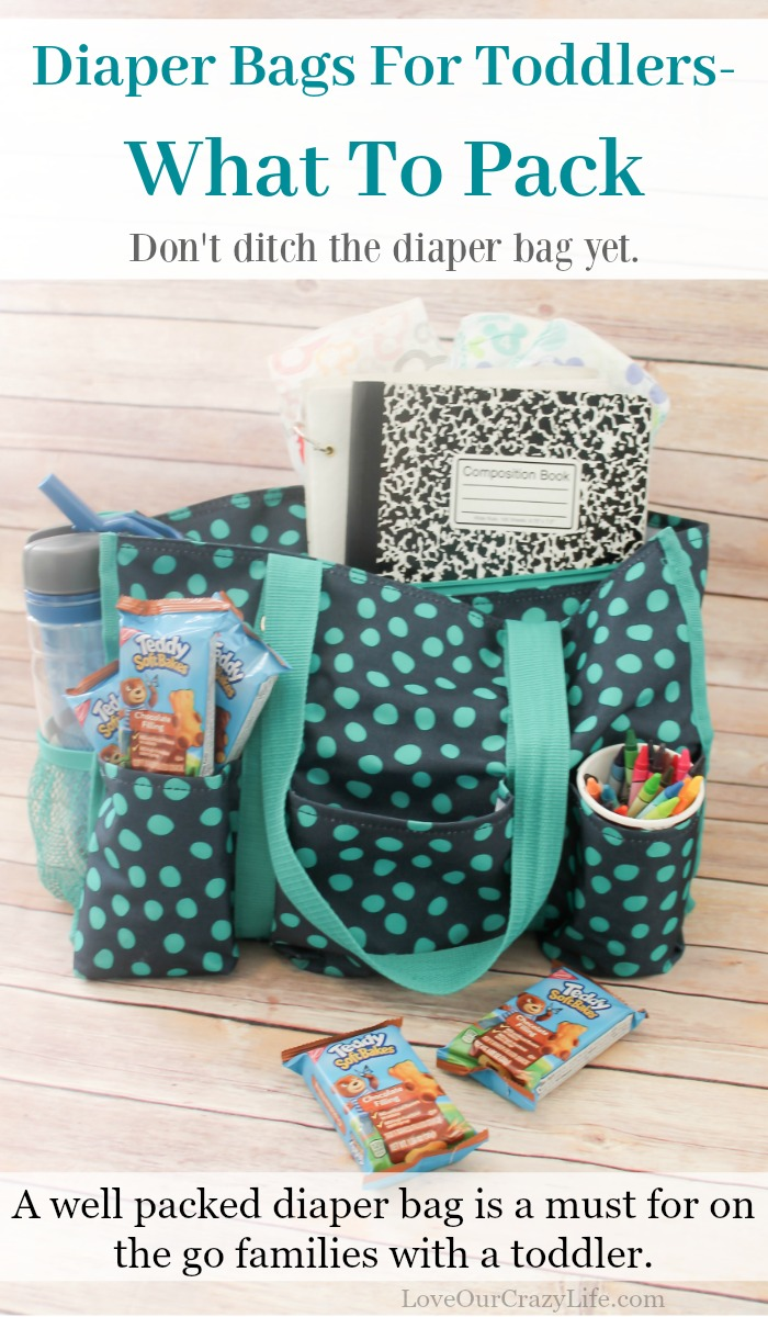 Diaper bags are not just for babies. This is a great list of items for a toddler diaper bag. Perfect for on the go families.