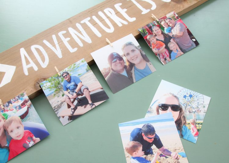 DIY hand painted wood photo display