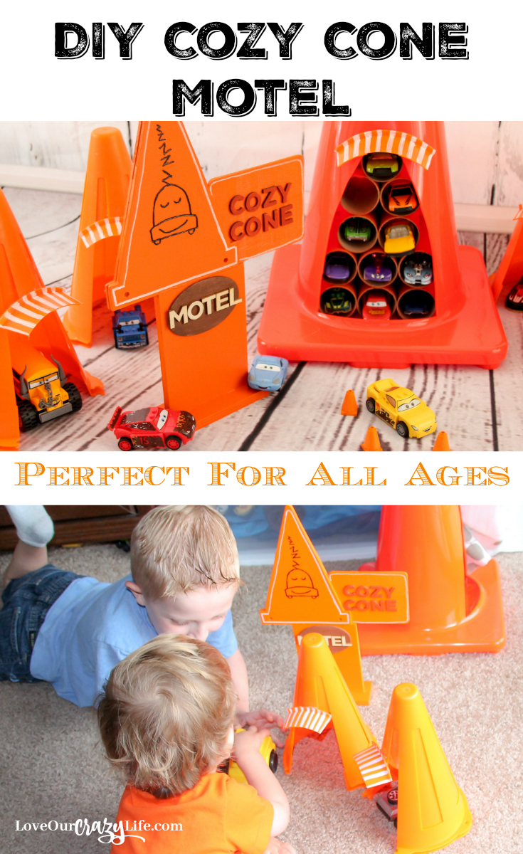 This DIY Cars Cozy Cone Motel is perfect for car lovers of all ages. Inspired by the Disney•Pixar's Cars movies.  Disney   Pixar   Cars   DIY   Kids   Crafts   Cozy Cone Motel   Play   Toys