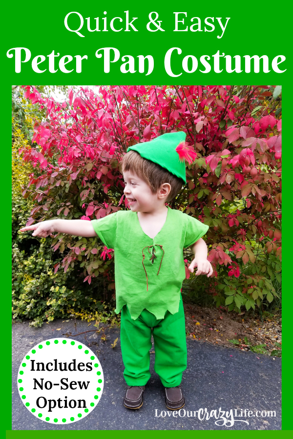 This Peter Pan costume idea is perfect for Halloween or a Disney trip or party. Super easy, and simple costume idea includes a no-sew option. Make it for under $5.