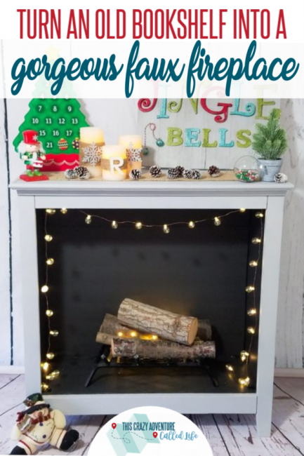DIY Faux Fireplace from Bookshelf