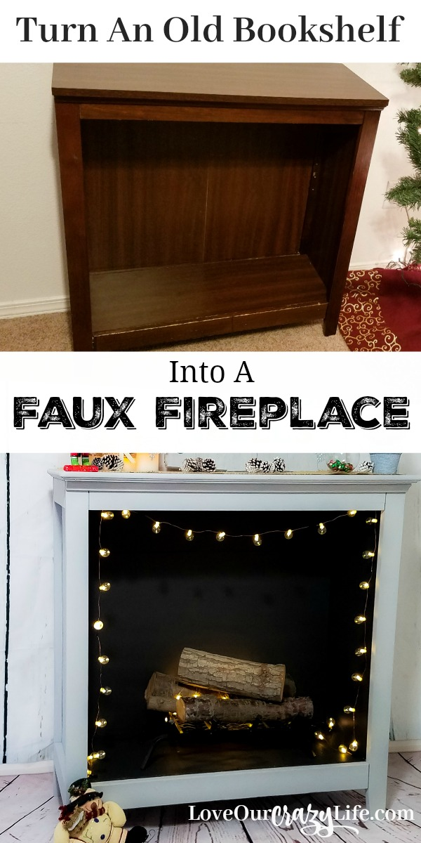 Gorgeous upcycle project! Turn a bookshelf into a faux fireplace. Best part is, it can easily go back to a bookshelf. Perfect for renters.  Repurpose old furniture. #DIY #Furniture #HomeDecor  | Home | Decor | DIY | Furniture | Home Design | Upcycle | Flip |
