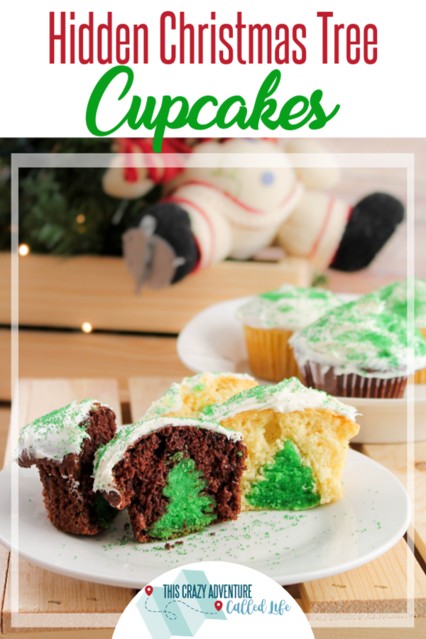 Cut these cupcakes in half and it reveals a hidden Christmas Tree! Great dessert for kids Christmas or holiday parties and more! They are delicious and fun. Easy to bake recipe. #ThisCrazyAdventureCalledLife #cupcakes #Christmas #baking #holidays #food