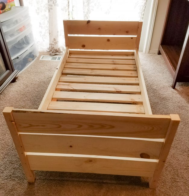 DIY Toddler Bed is a simple weekend project. We even did ours in our living room