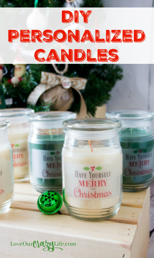 DIY Personalized candles are a great gift for neighbors, friends, family, parties, or even for the hostess. Super simple to make and can have any message you want on them. #DIY #Gift #HomeDecor #Craft  Party | Gift | Party favor | Hostess Gift | Neighbor Gift | Holidays | Crafts | Home Decor | Christmas |