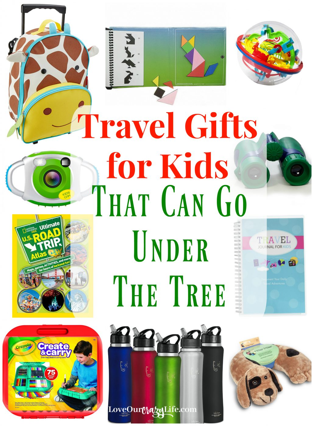 Giving experience gifts or a vacation for Christmas is awesome, but kids want something they can unwrap! Check out these great travel gifts for kids that can fit under the tree!  Travel | Vacation | Family Travel | Gift Guide | Gift Ideas | Travel With kids |  #Travel #GiftIdeas #KidsGifts