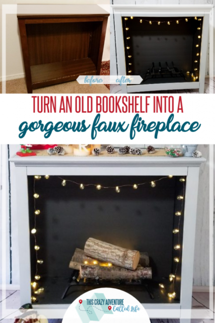 Bookshelf into faux fireplace