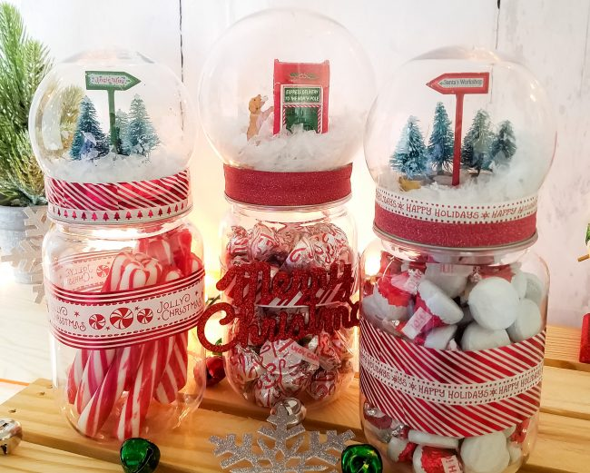 DIY snow globe treat jars