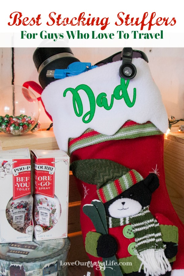 Stocking stuffer ideas for men who love to travel. Great ideas including some unique ones. These are great gifts for husbands, dads and more. #Travel #GiftGuide #StockingStuffers #GiftsForMen