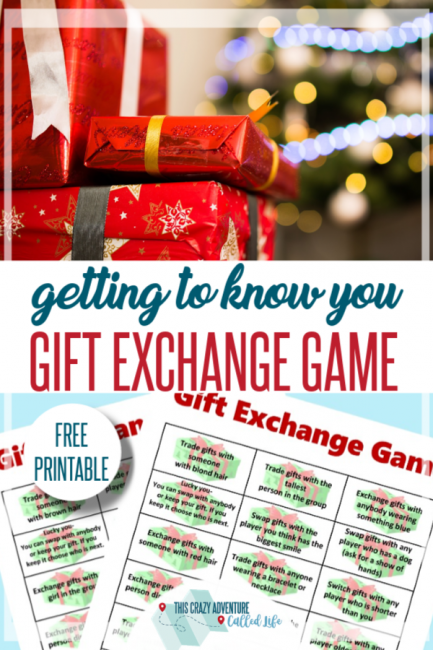 free printable: Gift exchange game for Christmas parties, church and school activities. Getting to know you feel.