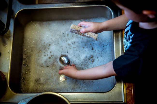Chores for toddlers washing dishes
