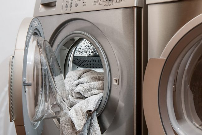 Toddlers can help switch laundry as a chore