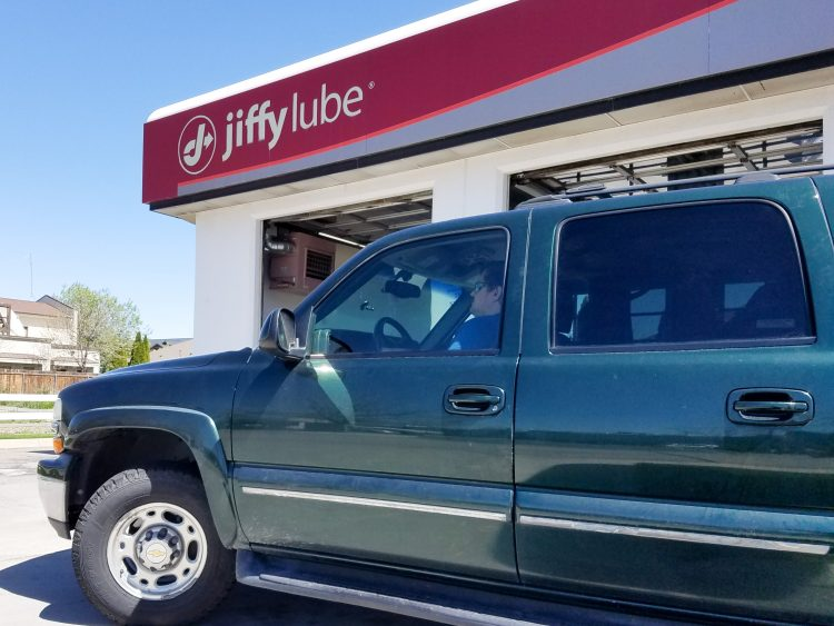 Jiffy Lube for car service before road trip.