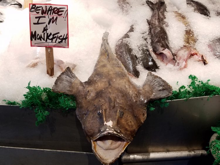 Monkfish prank at Pike Place Market with kids