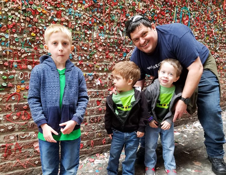 The Gum Wall at Pike Place Market with kids in Seattle