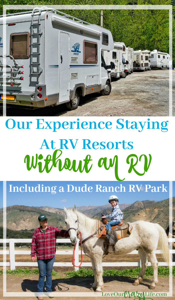 Glamping and camping season is upon us. Check out how to stay at an RV Resort without an RV. We stayed at Thousand Trails resorts including a Dude Ranch themed RV Park. #Hosted