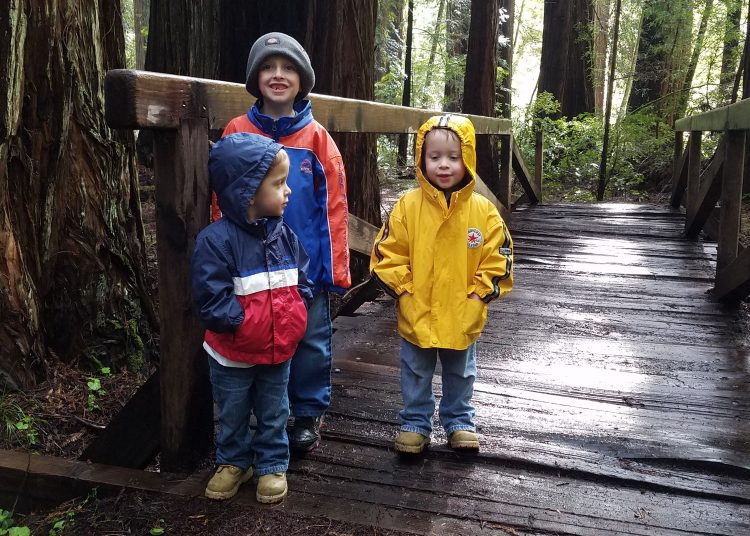 Raincoats and kids in Redwoods. These raincoats...stolen