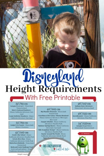 Disneyland height requirements. Plus a free printable to easily navigate what your kid can ride. #Disneyland #TravelWithKids #DisneylandWithKids #ThisCrazyAdventureCalledLife
