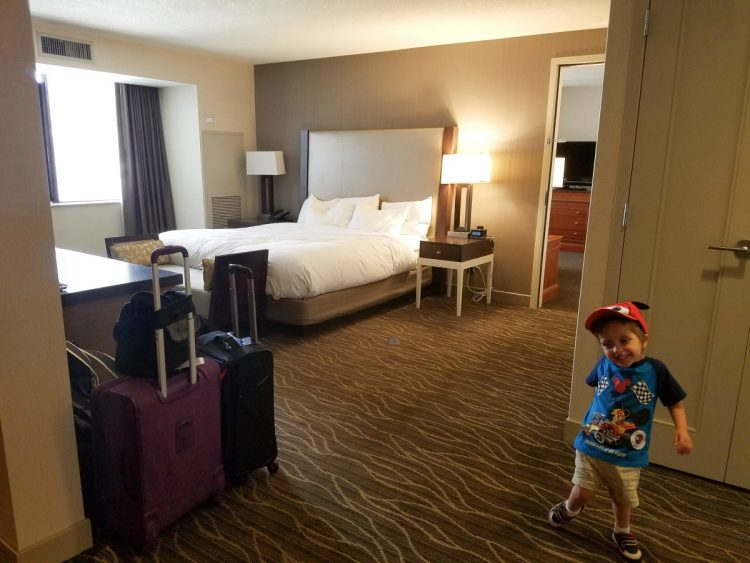 Hilton Salt Lake City Center King Suite Bedroom