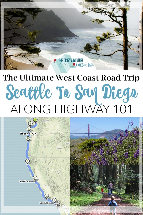 The ultimate west coast road trip itinerary. Highway 101 from Seattle to San Diego. Check out the entire journey and plan your vacation. #roadtrip #westcoast #highway101 #familyvacation #washington #oregon #california