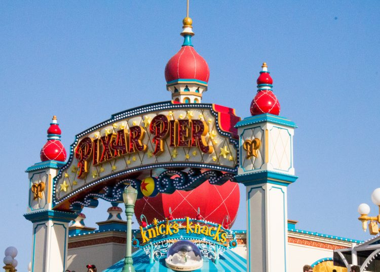 Pixar Pier sign with the Knick's Knacks shop in background